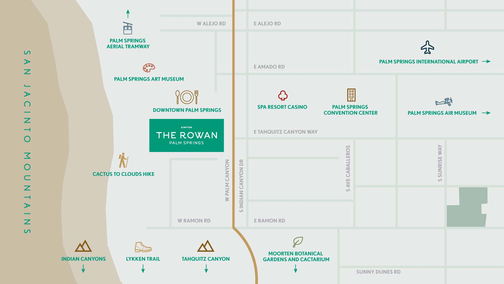 Palm Springs Map + Directions | Kimpton Rowan Hotel on directions on cell phone, directions on a globe, directions on a ship, directions on a compass rose, directions on a paper,